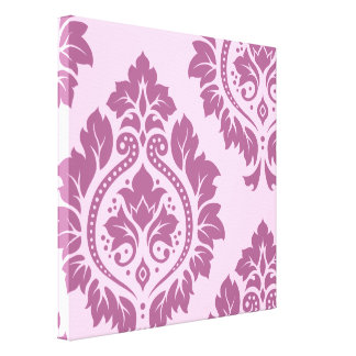 Decorative Damask Art I – Plum on Pink Canvas Print