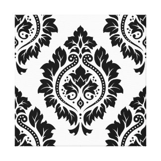 Decorative Damask Design – Black on White Canvas Print