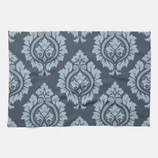 Decorative Damask Pattern Light on Dark Blue-Grey Kitchen Towel
