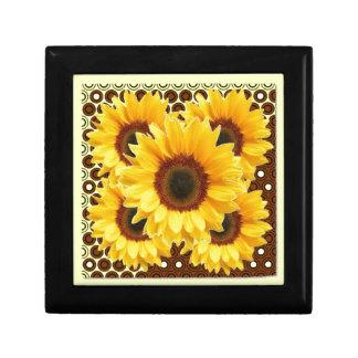 DECORATIVE DECO BROWN & YELLOW SUNFLOWER GIFT BOX