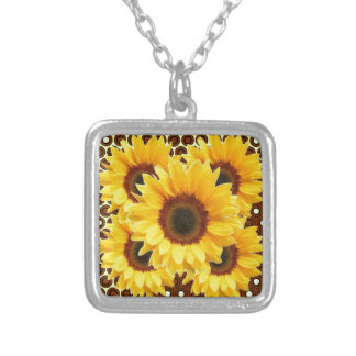 DECORATIVE DECO BROWN & YELLOW SUNFLOWER SILVER PLATED NECKLACE