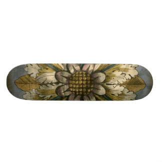 Decorative Demask Rosette on Grey Background Skateboard Decks