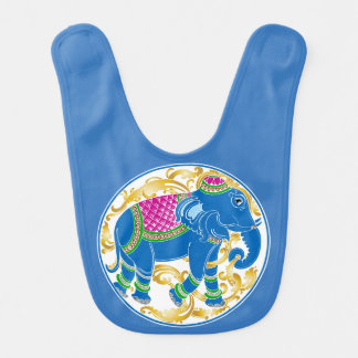 Decorative East Indian Blue Elephant Baby Bibs