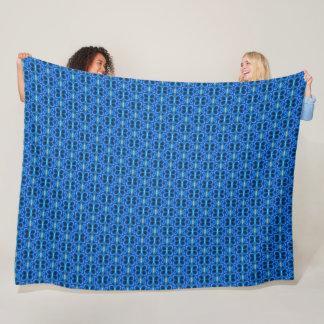 Decorative Electric Blue Dragonfly Satin Pattern Fleece Blanket