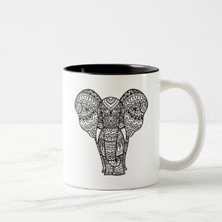 Decorative Elephant Style Two-Tone Coffee Mug