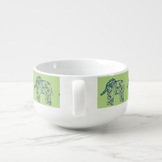 Decorative Elephants Patterned Soup Bowl With Handle