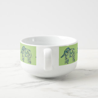 Decorative Elephants Patterned Soup Mug