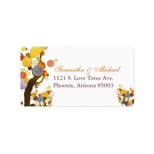 Decorative Fall Trees Wedding Return Address Label Address Label