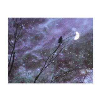 Decorative Fantasy Crow Art Canvas Print
