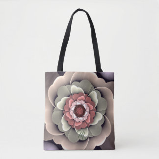 Decorative fantasy flower and custom text tote bag