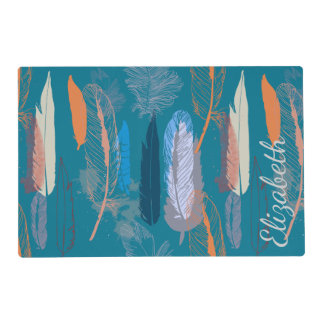 Decorative Feather Design in Blue Laminated Place Mat