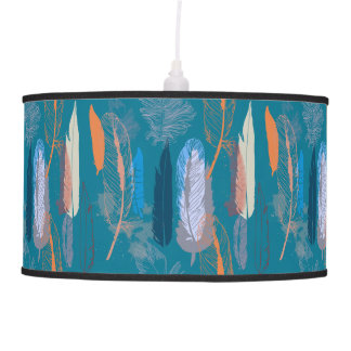 Decorative Feather Design in Blue Personalized Pendant Lamp