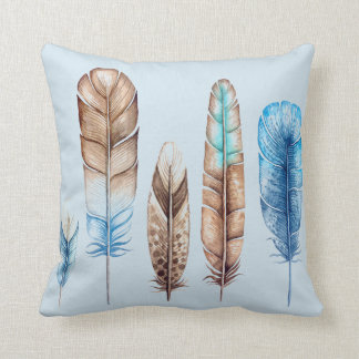 Decorative Feathers Boho Style Throw Pillow