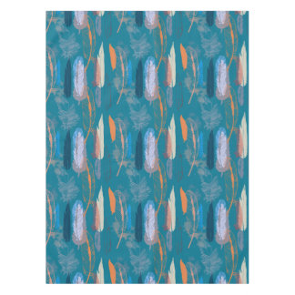 Decorative Feathers Design in Blue Tablecloth