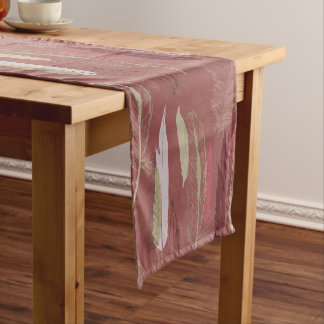 Decorative Feathers in Marsala Wine Short Table Runner