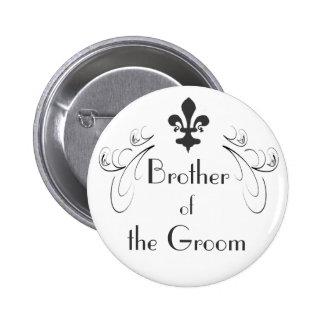 Decorative Fleur de Lis Brother of Groom Button