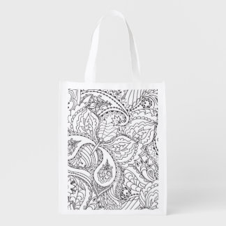 Decorative Floral Butterfly - multiple colors avai Reusable Grocery Bag