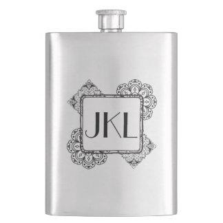 Decorative Floral Design with Monogram Hip Flask