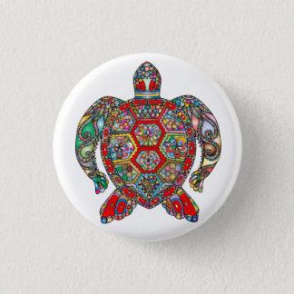 Decorative floral ornamental sea turtle line art 1 inch round button