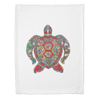 Decorative floral ornamental sea turtle line art duvet cover