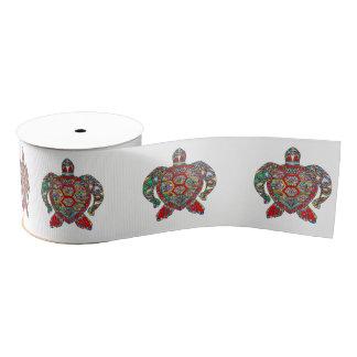 Decorative floral ornamental sea turtle line art grosgrain ribbon