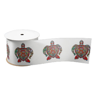 Decorative floral ornamental sea turtle line art satin ribbon