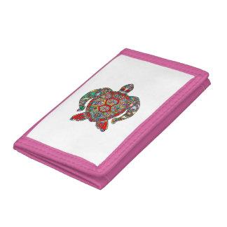 Decorative floral ornamental sea turtle line art trifold wallet