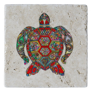 Decorative floral ornamental sea turtle line art trivet