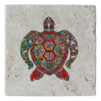 Decorative floral ornamental sea turtle line art trivet