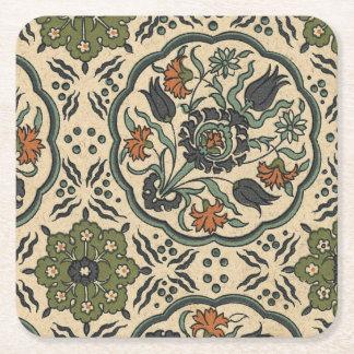 Decorative Floral Persian Tile Design Square Paper Coaster