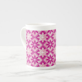 Decorative Floral Tiles Bone China Mug - Purple