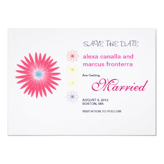 "Decorative Flower Bursts Wedding Save the Date Car 4.5"" X 6.25"" Invitation Card"