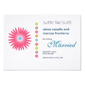 "Decorative Flower Bursts Wedding Save the Date Car 4.5"" X 6.25"" Invitation Card"