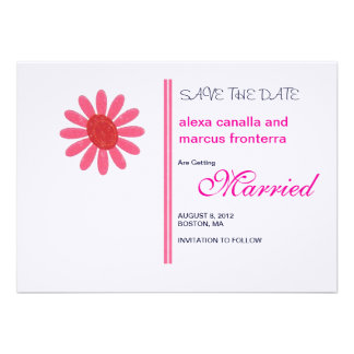 Decorative Flower Bursts Wedding Save the Date Car Personalized Invites