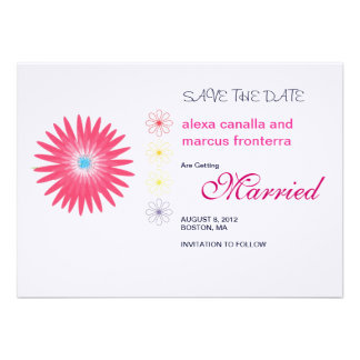 Decorative Flower Bursts Wedding Save the Date Car Invitations