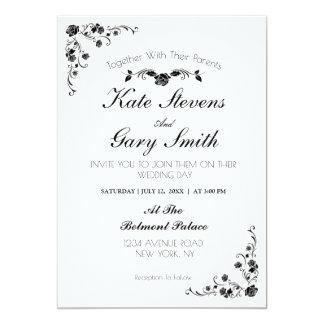 decorative flower Wedding Invitation
