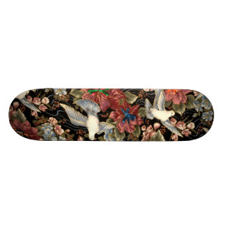 Decorative Flowers And Doves Skateboard Deck