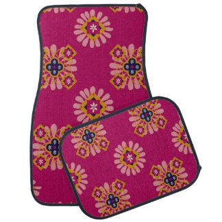 Decorative Fuchsia Moroccan Set of 4 Car Mats