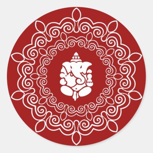 Decorative Ganesha Design Round Sticker