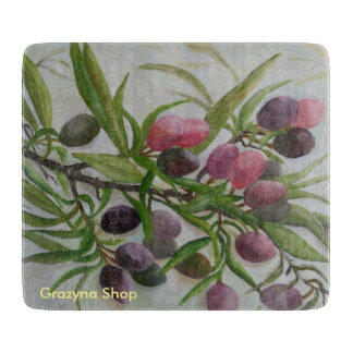 Decorative glass board, olives, boards