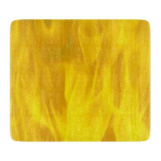 "Decorative Glass Cutting Board 6""x7"" flame yellow"