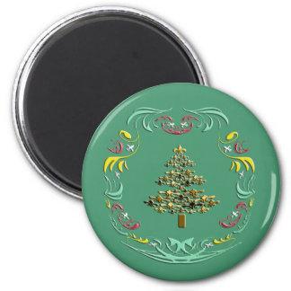 Decorative Gold Fleur de Lis Christmas Green 2 Inch Round Magnet