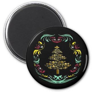 Decorative Gold Fleur de Lis Christmas Tree 2 Inch Round Magnet