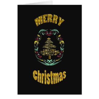 Decorative Gold Fleur de Lys Tree Merry Christmas Card
