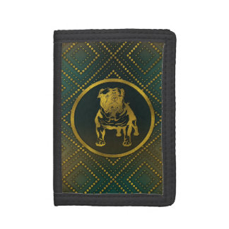 Decorative Golden Embossed - English Bulldog Trifold Wallets