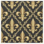 Decorative Golden Fleur-de-Lis Pattern Fabric