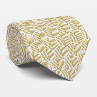 Decorative golden hexagonal pattern luxurious tie