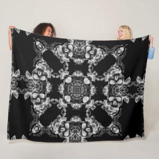 Decorative Gothic Skulls Satin Mandala Fleece Blanket