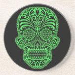 Decorative Green and Black Sugar Skull Beverage Coasters