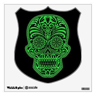 Decorative Green and Black Sugar Skull Wall Sticker